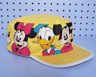 Vintage 80s DISNEY CHARACTER Yellow Painters Hat Mickey Mouse Donald Duck Minnie Mouse Goofy