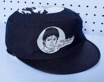 80s Vintage MICHAEL JACKSON Thriller Painters Cap BLACK