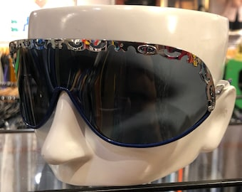 bd448ed3d01d5 Vintage 80s CHRISTIAN DIOR Shield Sunglasses Gray Lenses with Silver and  Blue Frames Made In Austria Model No. 2501 75 110