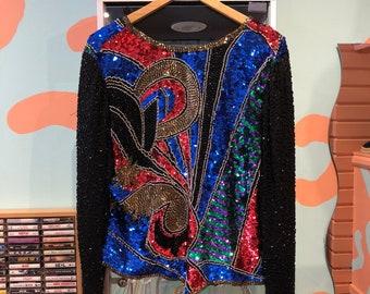 6a44f523623 Magnifique Vintage des années 80 Sequin soie chemisier motif abstrait