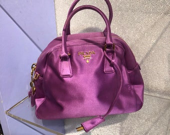 07be8be51881 True Vintage 90s PRADA Raspberry Satin Micro Mini Top Handle Bowling Bag  with Lock and Key