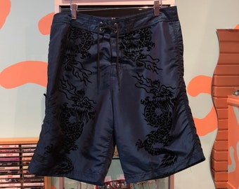 442e8dac63531 Vintage 90s Nylon Swim Trunks Velvet Dragon Print Size 34 Club Kid Rave
