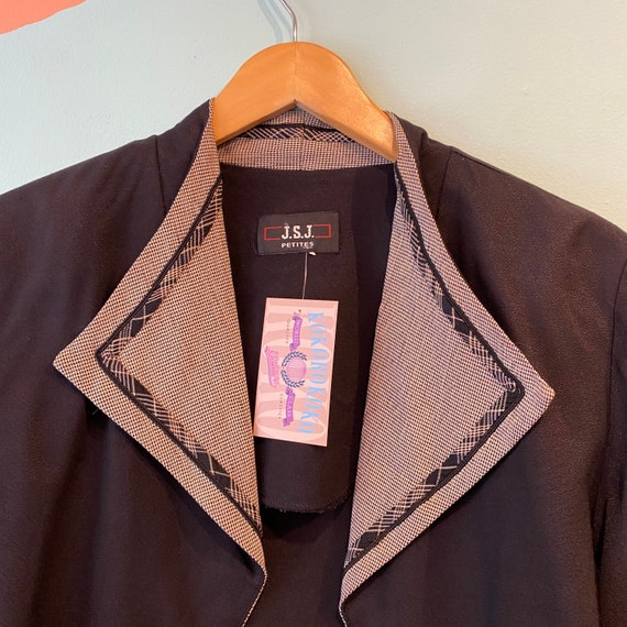 Vintage 90s JSJ Petites Black Cropped Cardigan Bl… - image 6
