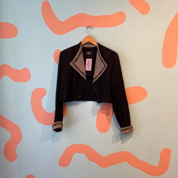Vintage 90s JSJ Petites Black Cropped Cardigan Bl… - image 5