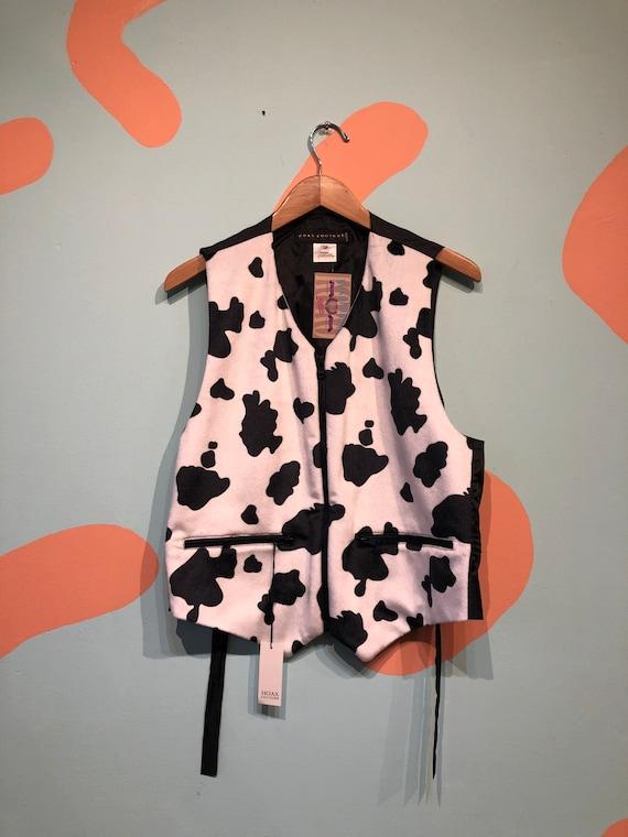 Vintage 90s Fuzzy Cow Print Zip up Vest NOS