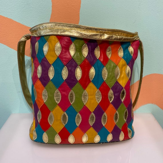 Vintage 80s Rainbow Patchwork Leather Harlequin Di