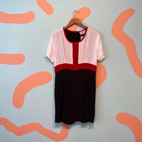 Vintage Kristy 90s Mondrian Color Block Red Black