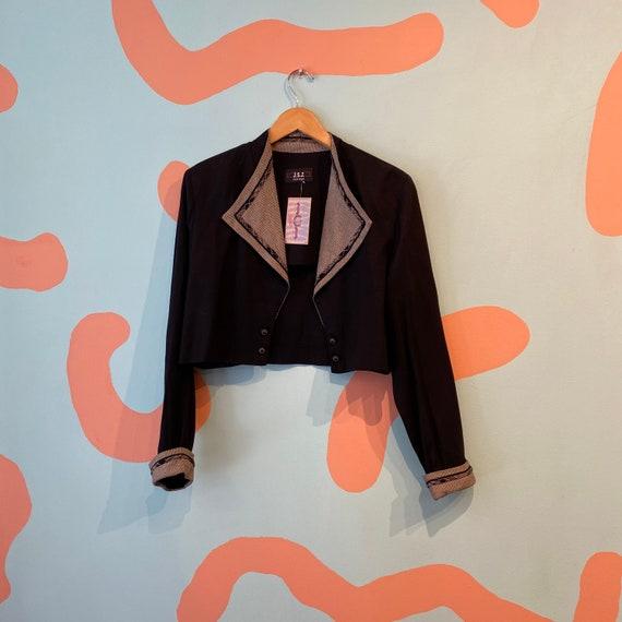 Vintage 90s JSJ Petites Black Cropped Cardigan Bl… - image 1