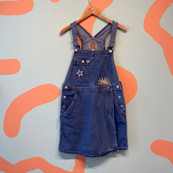 Vintage Denim Overall Romper with Embroidered Baro
