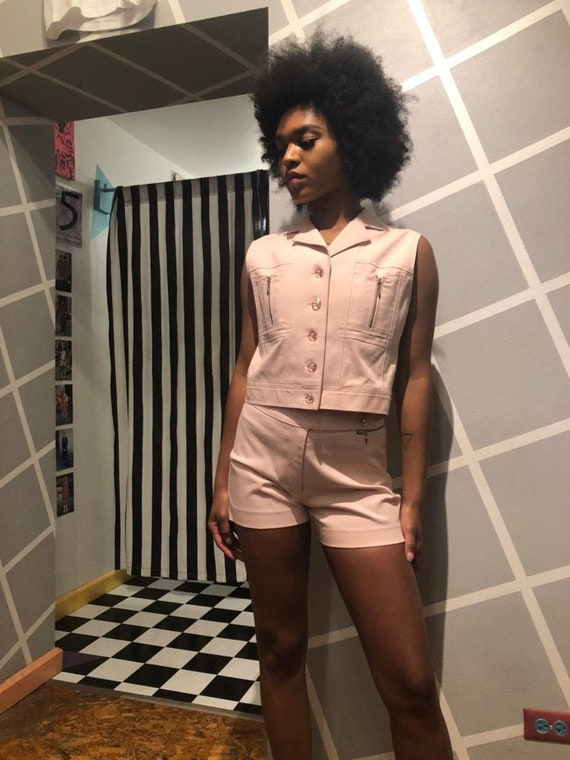 Vintage 90s TWO PIECE SET Powder Pink Shorts Sleev