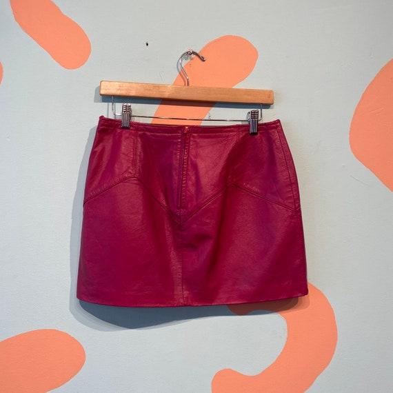 Vintage 80s Chia Fuchsia Pink Leather Mini Skirt - image 6