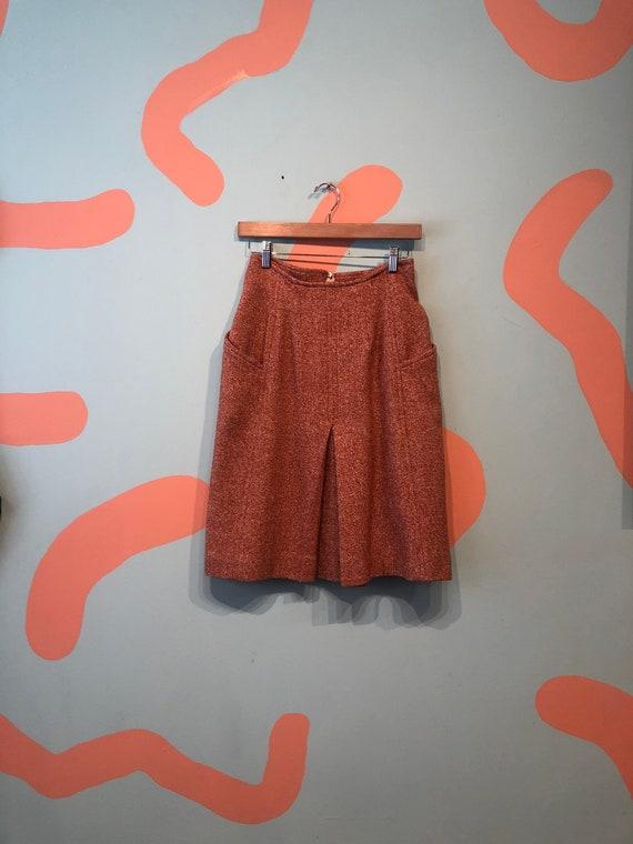 Vintage Courreges Vented Mod Skirt Rust Speckle
