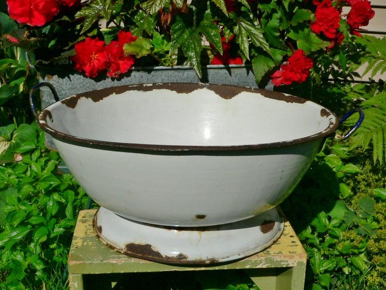 18 Vintage Round Porcelain Enamel Dough Bread Riser Cobalt Handles Dish Tub Planter