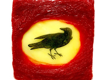 Miniature beeswax encaustic crow painting