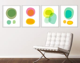 Large Wall Art, Set of 4 Prints, Colorful Abstract Art Prints, Contemporary Art, Large Abstract Art