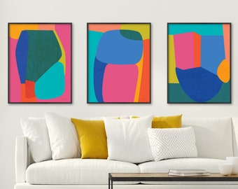 Colorful Art, Abstract Art, Print Set of 3, Contemporary Art, Large Wall Art, Large Abstract Art