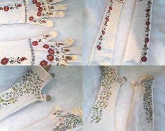 Gloves. Hand blocked and painted full length silk gloves or mitts