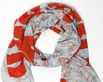 Hand Printed RESIST scarf- orange