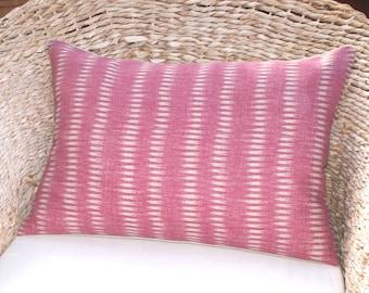 Kate Forman Maya Dark Pink Ikat Stripe Lumbar Cushion / Pillow Cover - UK Designer Linen, Handmade