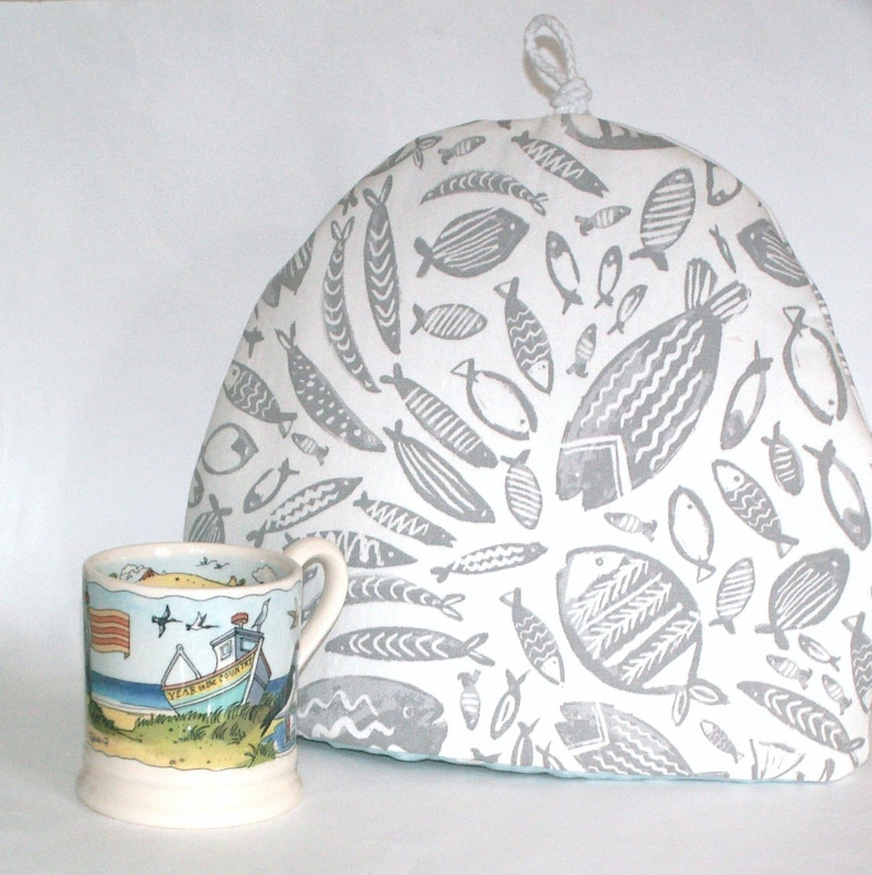 6f7f453b3a63 Fish Tea Cosy /Tea Pot Cozy Grey and White with Duck Egg & | Etsy