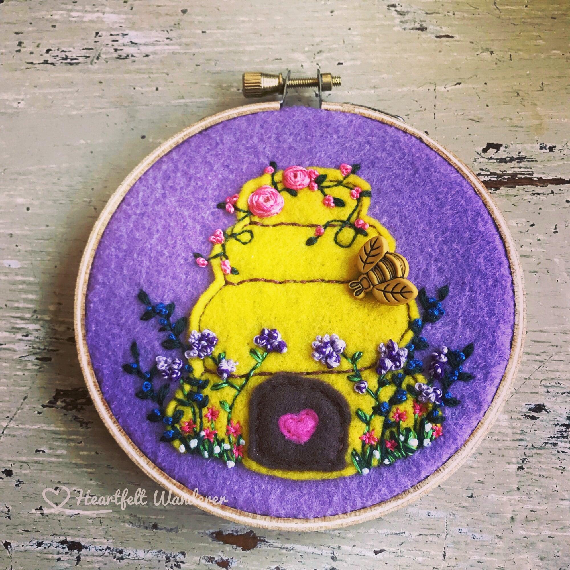Hand Embroidered Felt Bee Hive Hoop, Wall Hanging, Bee, Christmas ...