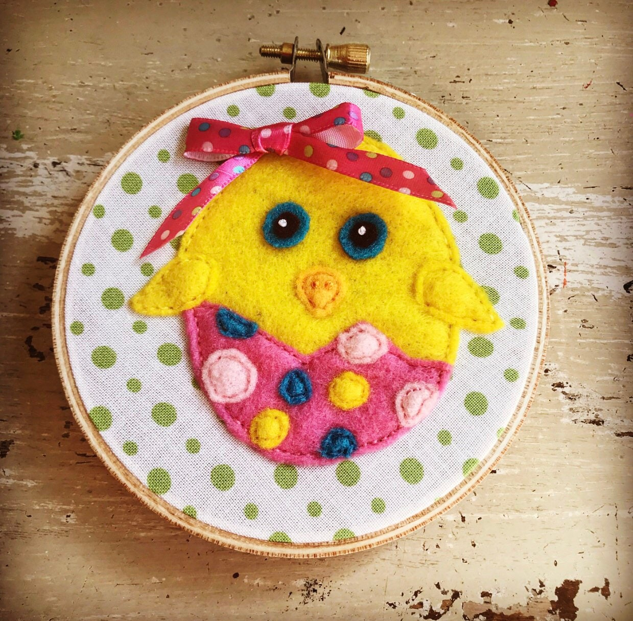 Cute Felt Easter Egg Chick, Wall Hanging, Hoop Art, Polka Dots ...