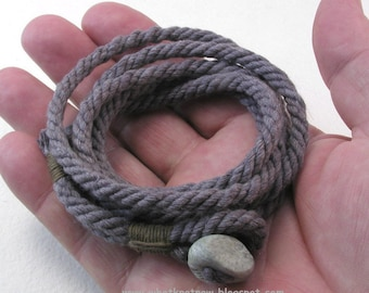 dark heather wrap bracelet of soft handmade rope with dragon tooth button rope bracelet button bracelet 3920