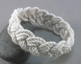 rope bracelet white cotton turks head knot bracelet nautical sailor bracelet 100