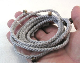 beaded wrap bracelet grey cotton handmade rope with bamboo beads finish-to-order size 3593