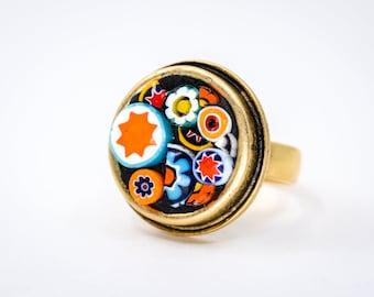 Flower Millefiori Mosaic Ring - Wearable Art - Gold Adjustable Ring