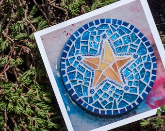 Blank Greeting Card - Mosaic Glitter Star- Birthday