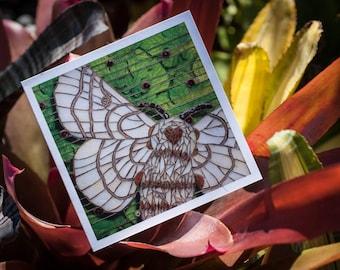 Blank Greeting Card - Bombyx Mori - moth mosaic
