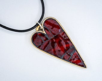Valentine's Day Red Fused Glass Mosaic - Wearable Art - Gold Pendant Necklace