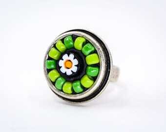 Beaded Daisy Millefiori Mosaic Ring - Wearable Art - Sterling Silver Adjustable Ring