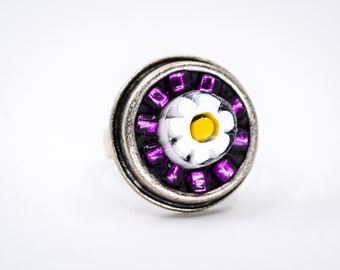 Purple Beaded Daisy Mosaic Ring - Wearable Art - Sterling Silver Adjustable Ring
