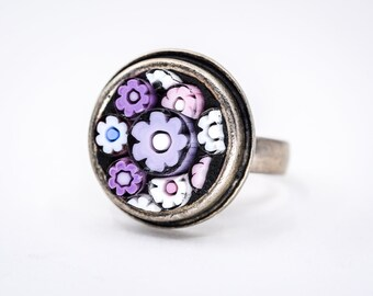 Violet Flower Millefiori Mosaic Ring - Wearable Art - Sterling Silver Adjustable Ring