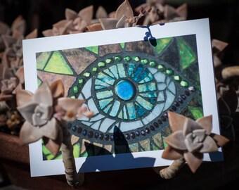 Blank Greeting Card - Dragon Eye mosaic