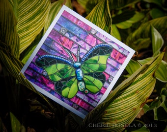 Blank Greeting Card - Chartreuse Butterfly mosaic