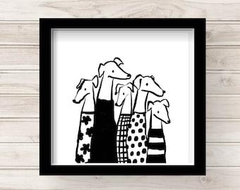 Modern Greyhound Art Print, Stylish Group of Friends, Fashionable Hipster Dog Lover Art, Illustrated Dog Art