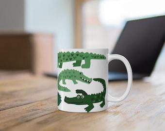 Happy Gators Coffee Mug 11oz, Alligator Coffee Mug, Gator Kitchen Gift, Gift for Gator Lovers, Cute Gator Kitchen Decor, Funny Gator Mug