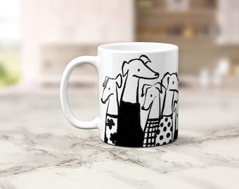 Illustrated Greyhound Coffee Mug, Stylish Group of Friends, Fashionable Hipster Dog Lover Art