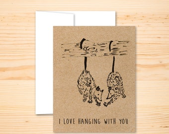 Opossum Card - Opossum Friendship Card, Possum Friends, Opossums High Five Card, Opossums Hanging From Tree Card