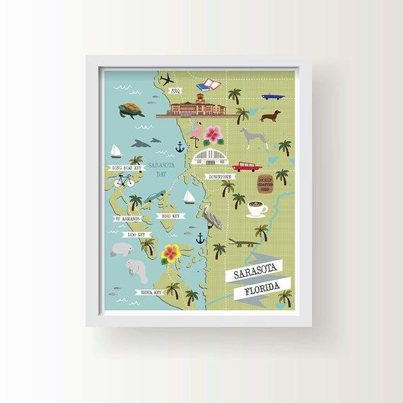 Map Of Sarasota Florida.Sarasota Florida Map Sarasota Wall Decor Modern Map Etsy