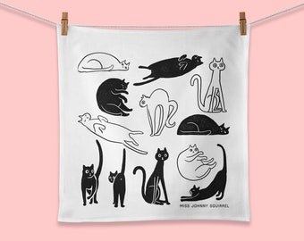 Black Cat Towel, Illustrated Tea Towel, Cat Lady Gift, Cat Kitchen Decor, Playful Kittens for the Kitchen