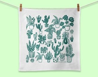 Succulent Indoor Plant Towel, Plant Flour Sack Towel, Succulent Dishcloth, Plant Kitchen Gift, Gift for Gardener, Gift for Tree huggers