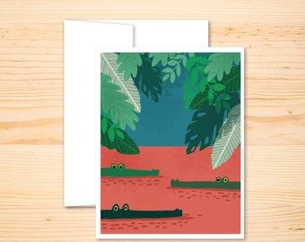 Alligator Card, Retro Florida Card, Blank Card, Congratulations Card, Animal Stationery, Florida Gator Art, Blank Greeting Card