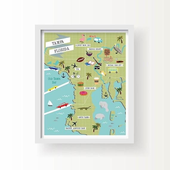 Tampa Florida Map.Tampa Map Art Tampa Wall Decor Modern Map Illustration Etsy