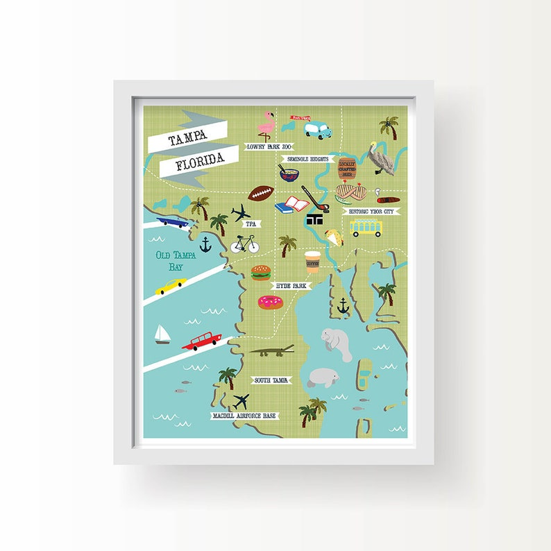 Tampa Map Art Tampa Wall Decor Modern Map Illustration | Etsy on