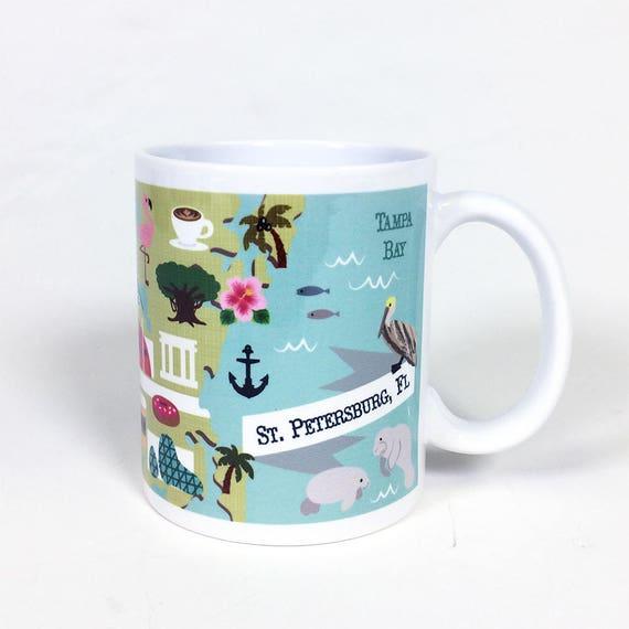 Map Of St Petersburg Florida.St Pete Florida Mug St Pete Illustrated Map Mug Florida Etsy