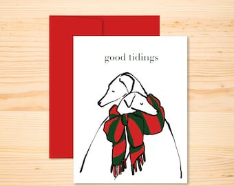 Good Tidings Holiday Greyhounds, Tender Hugging Dogs In Scarves Christmas Card, Whippets in Red and Green Scarf, Sentimental Animal Xmas